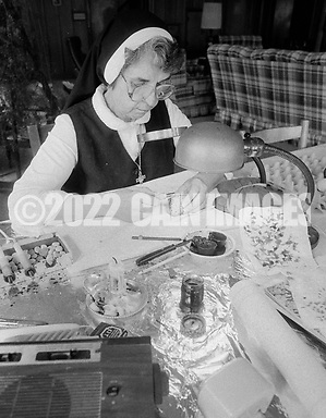 Sister Josaphat Slobodian places wax on an egg while doing her Ukrainian egg decorating, or pysanky, Tuesday, May 01, 1990 at Sisters of Saint Basil The Great motherhouse in Glenside, Pennsylvania. (Photo by William Thomas Cain/Cain Images) (William Thomas Cain/Cain Images)