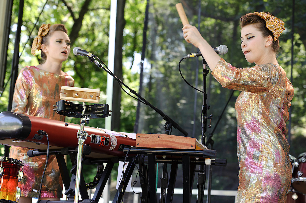 Photos of the band Lucius performing at The Great GoogaMooga festival at Prospect Park in Brooklyn, NY. May 20, 2012. Copyright © 2012 Matthew Eisman. All Rights Reserved. (Photo by Matthew Eisman/WireImage)