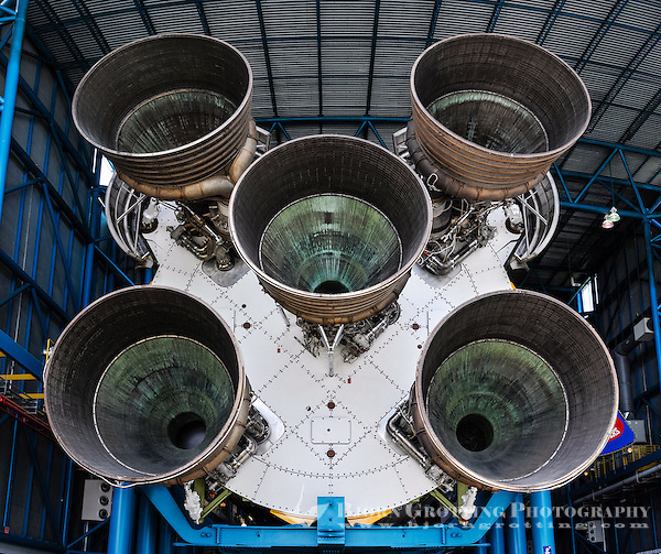 US, Florida. US, Florida. John F. Kennedy Space Center. F-1 engines on a Saturn V at the Apollo/Saturn V Center in 2013. Stitched panorama. (Photo Bjorn Grotting)