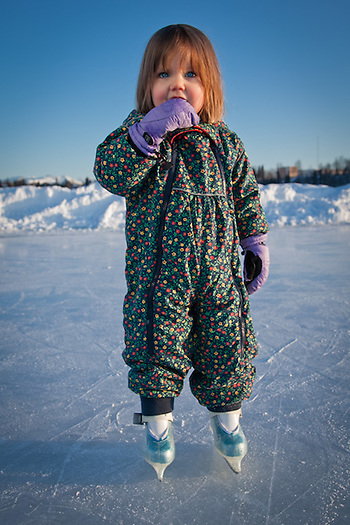 Two year old, Zuma Thoms, skates  at Westchester Lagoon, Anchorage (Clark James Mishler)
