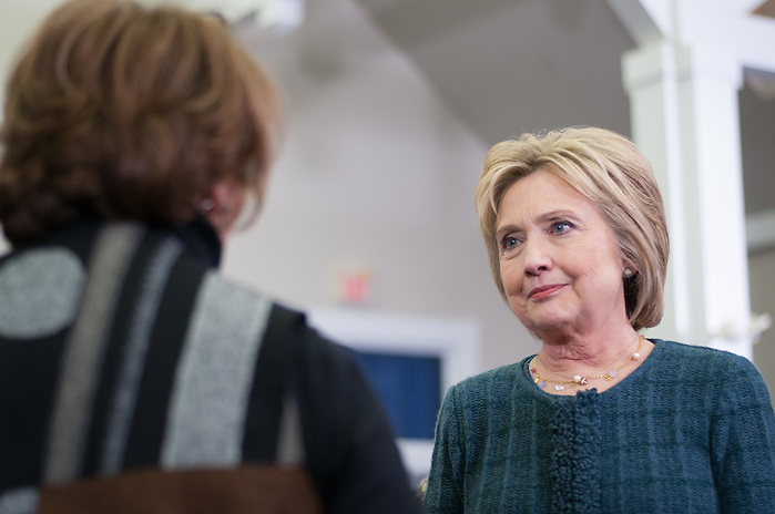 Democratic president and Secretary of State HILLARY CLINTON hears the question of an audience member at her New England College town hall event on Saturday, Feb. 6, 2016, three days before the N.H. primary. (Evan Sayles / The Tufts Daily)