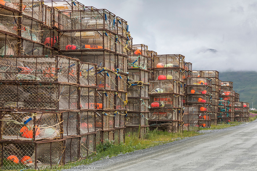 Commercial fishing photos: Crab pots stacked at the International Port of Dutch Harbor, Aleutian Islands, Alaska. (Patrick J Endres / AlaskaPhotoGraphics.com)