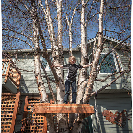 "William Cleland (9) in his yard in Anchorage's South Addition neighborhood.  ""We're rebuilding our tree house.  This is as far as we have gotten."" (© Clark James Mishler)"