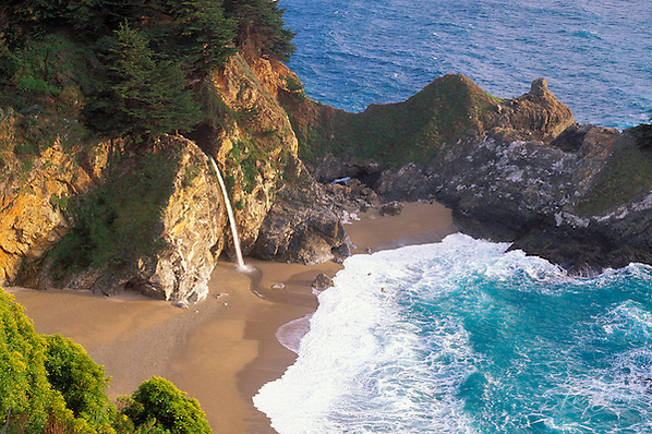 Evening light on McWay Cove and Waterfall, Julia Pfeiffer Burns State Park, Big Sur Coast, California (Russ Bishop/Russ Bishop Photography)