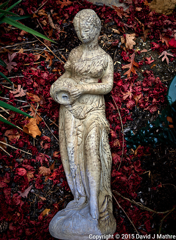 Statue lying in red maple leaves. Backyard autumn nature. Image taken with a Leica T camera and 23 mm f/2 lens (ISO 100, 23 mm, f/2, 1/125 sec) (David J Mathre)