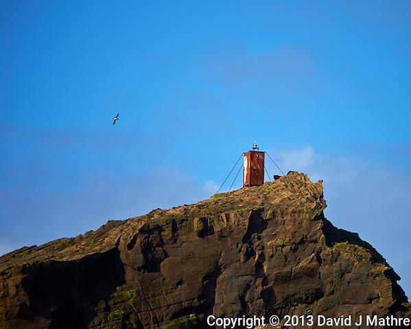 Unmanned Light On Top of Geirfuglasker Island. (David J Mathre)