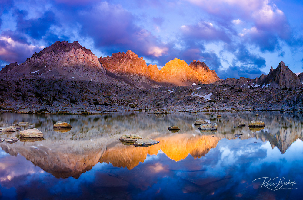 Evening light on the Palisades in Dusy Basin, Kings Canyon National Park, California