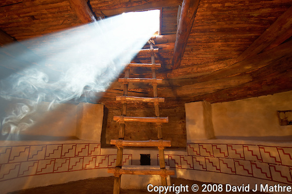 "Kiva Sunbeam. Kelly Place, Cortez Colorado. Elderhostel ""Southwest Photography"" Workshop Day 2. Image taken with a Nikon D3 and 14-24 mm f/2.8 lens (ISO 200, 20 mm, f/4, 1/50 sec). (David J Mathre)"