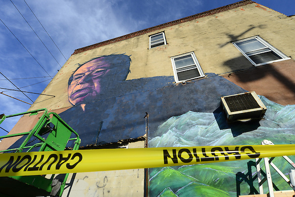 """In south Philadelphia, PA., U.S. Artists Old Broads and Disto are seen on March 9, 2016 as they work to complete a mural in support of candidate for the Democratic nomination Bernie Senders. The work titled """"Philly the Bern"""" is located on the corner of 22nd St. and Catharine St, in the South Philadelphia neighborhood of Philadelphia, PA., USA. (Bastiaan Slabbers/ZUMA Press)"""