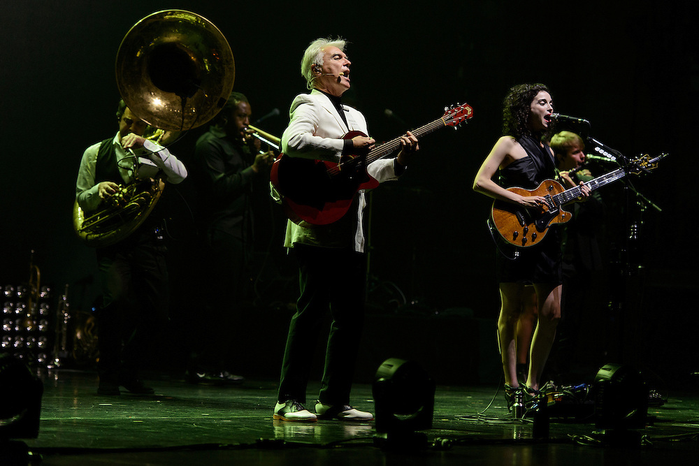 Photos of the musicians David Byrne and St. Vincent performing live at Beacon Theatre, NYC. September 25, 2012. Copyright © 2012 Matthew Eisman. All Rights Reserved. (Photo by Matthew Eisman/WireImage)