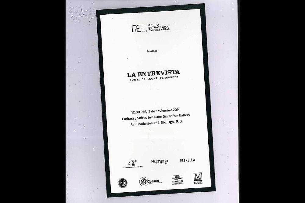 La invitación al encuentro con Leonel Fernández.