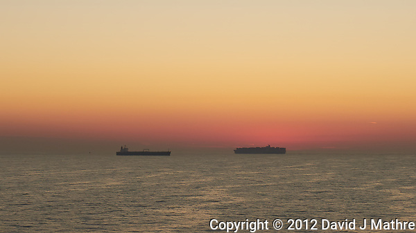 Cargo Ships at Dawn on the English Channel. Image taken with a Leica X2 camera (ISO 200, 24 mm, f/11, 1/60 sec). (David J Mathre)