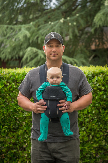 """My wife unually carries West...it is unusual for me to wear this thing."" -Vineyard owner Brian Harlen with his six month old son, West, in Calistoga (Clark James Mishler)"