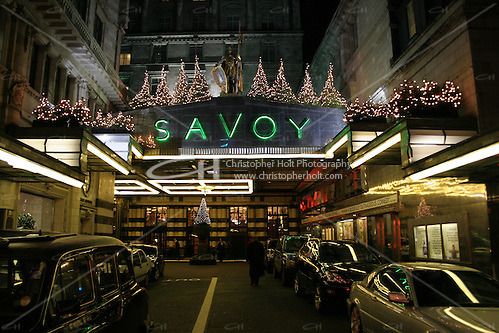 christmas trees on the savoy hotel at night (Christopher Holt LTD/Image by Christopher Holt - www.christopherholt.com)