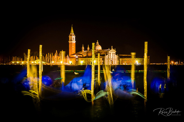 Gondolas and San Giorgio Maggiore church at night, Piazza San Marco (St. Mark's Square), Venice, Veneto, Italy (© Russ Bishop/www.russbishop.com)
