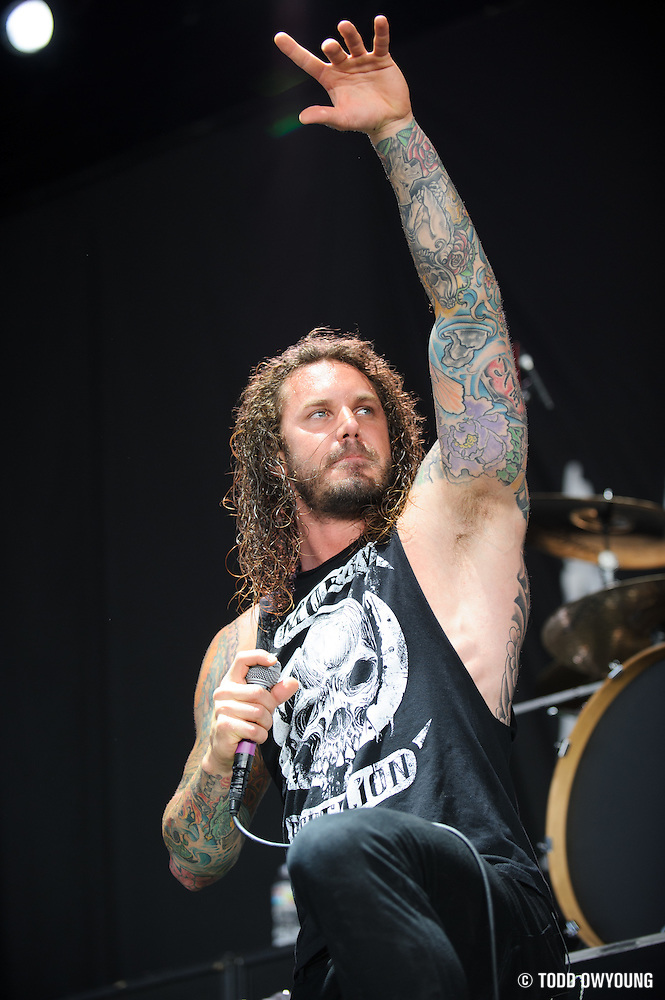 As I Lay Dying performing at Mayhem Fest 2012 at Verizon Wireless Amphitheater in St. Louis, Missouri on July 20, 2012. (Todd Owyoung)