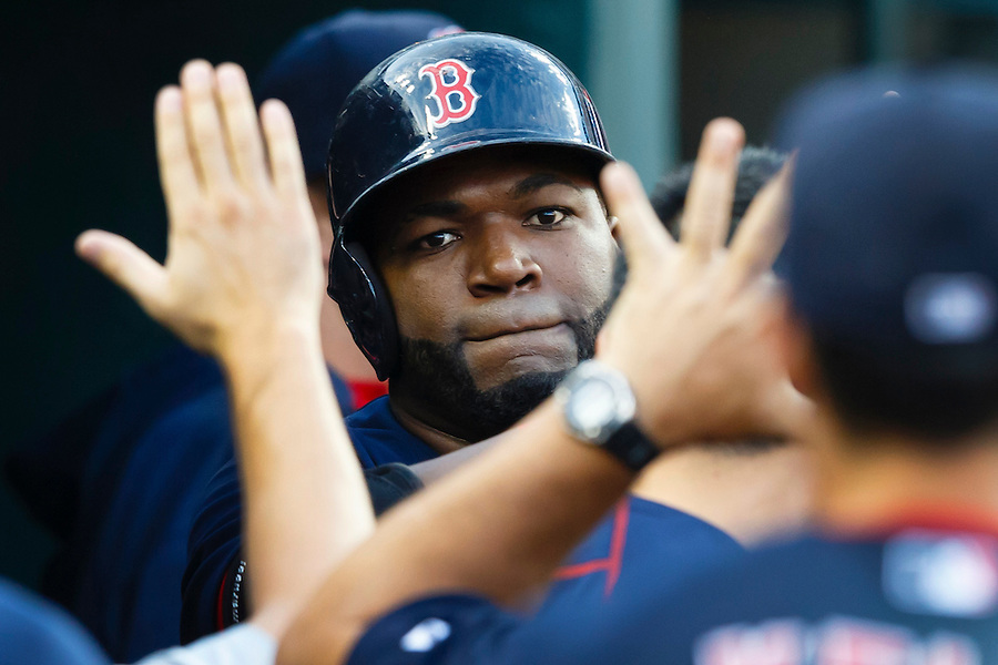 Aug 7, 2015; Detroit, MI, USA; Boston Red Sox designated hitter David Ortiz (34) receives congratulations from teammates after he hits a two run home run in the third inning against the Detroit Tigers at Comerica Park. Mandatory Credit: Rick Osentoski-USA TODAY Sports (Rick Osentoski/Rick Osentoski-USA TODAY Sports)