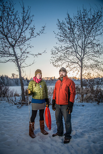 "Geologists Danielle Best and Travis Atwood at Margaret Sullivan Park, Anchorage.  best.danie@gmail.com  ""We arrived in Anchorage from Honolulu in August.""  ""Do you miss Hawaii?""  ""Sure, we miss some things but we love it here…Anchorage is a much more livable city."" (© Clark James Mishler)"