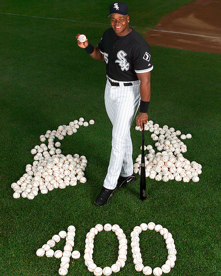 CHICAGO - JULY 27:  Frank Thomas #35 of Chicago White Sox poses for a photo after hitting his 400th career home run against the Tampa Bay Devil Rays in the 5th inning on July 25, 2003 at U.S. Cellular Field in Chicago, Illinois. (Photo by Ron Vesely) (Ron Vesely)