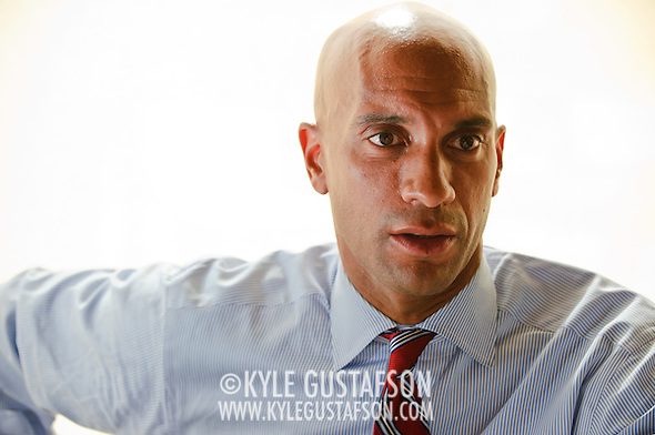 Mayoral incumbent Adrian Fenty sits down for an interview with the staff of DCist.com ahead of D.C.'s Democratic Primary. (Photo by Kyle Gustafson)