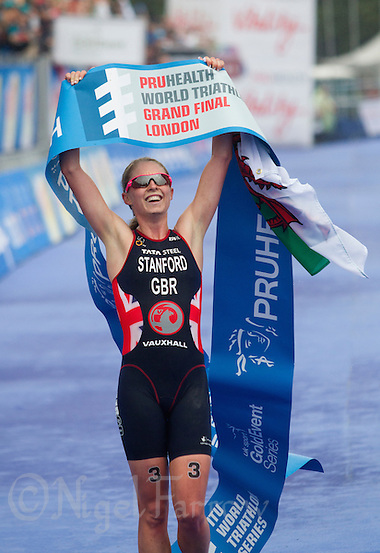 14 SEP 2013 - LONDON, GBR - Non Stanford (GBR) of Great Britain celebrates winning the women's ITU 2013 World Triathlon Series Grand Final in Hyde Park, London, Great Britain (PHOTO COPYRIGHT © 2013 NIGEL FARROW, ALL RIGHTS RESERVED) (NIGEL FARROW/COPYRIGHT © 2013 NIGEL FARROW : www.nigelfarrow.com)