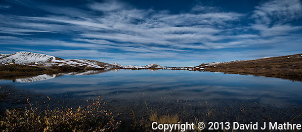 Morning Reflections in a Pond at Independence Pass, Colorado. Composite of 3 images taken with a Nikon D3x and 24 mm f/3.5 PC-E lens (ISO 100, 24 mm, f/16, 1/160 sec) combined using AutoPano Giga Pro 3. Day 3 on a Colorado Rockies Photo Safari with Jason Odell. (David J Mathre)
