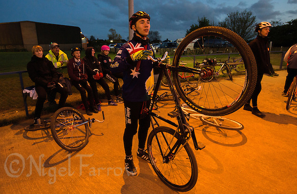 05 MAY 2015 - IPSWICH, GBR - Ashley Hill of Ipswich Eagles Cycle Speedway Club waits in the pits for his next heat during a club championship night at Whitton Sports and Community Centre in Ipswich, Suffolk, Great Britain (PHOTO COPYRIGHT © 2015 NIGEL FARROW, ALL RIGHTS RESERVED) (NIGEL FARROW/COPYRIGHT © 2015 NIGEL FARROW : www.nigelfarrow.com)