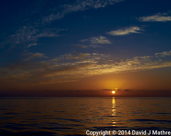 Sunrise over the Atlantic Ocean from the deck of the MV Explorer. Image taken with a Leica X2 camera. (David J Mathre)