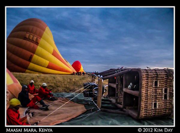 Crew Waiting To Launch.Hot Air Balloon Ride Over Maasai Mara, Kenya.September 2012 (Kim Day)
