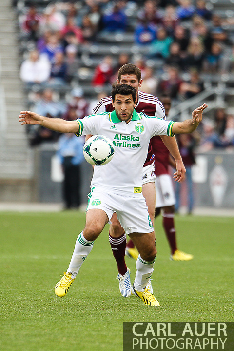 March 30th, 2013 Commerce City, CO - Portland Timbers midfielder Diego Valeri (8) receives a pass in the first half of the MLS match between the Portland Timbers and the Colorado Rapids at Dick's Sporting Goods Park in Commerce City, CO (Carl Auer/Newsport)