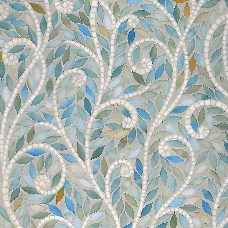 Climbing Vine waterjet mosaic field shown in Aquamarine and Quartz Jewel glass. (New Ravenna Mosaics 2011)