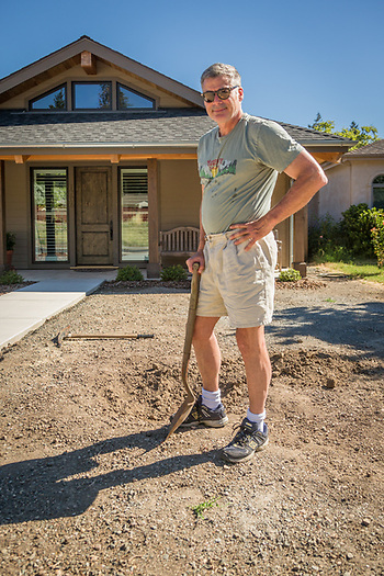 """I'm digging a hole for a giant rock...I can't wait to move up here permenantly.""  -Brad Darfler works on his front yard in Calistoga (Clark James Mishler)"