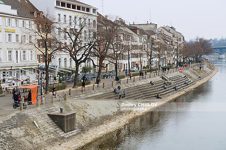 BASEL, SWITZERLAND - MARCH 01, 2009: View to the riverside of Rhine river in Basel, Switzerland. (Dmitry Chulov)