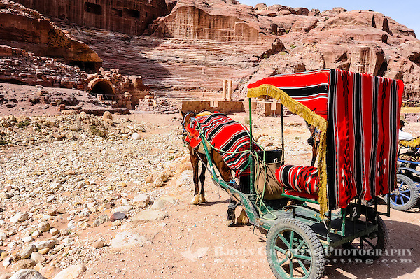 Petra is Jordan's most visited tourist attraction. Horse in front of the Roman Amphitheatre. (Photo Bjorn Grotting)