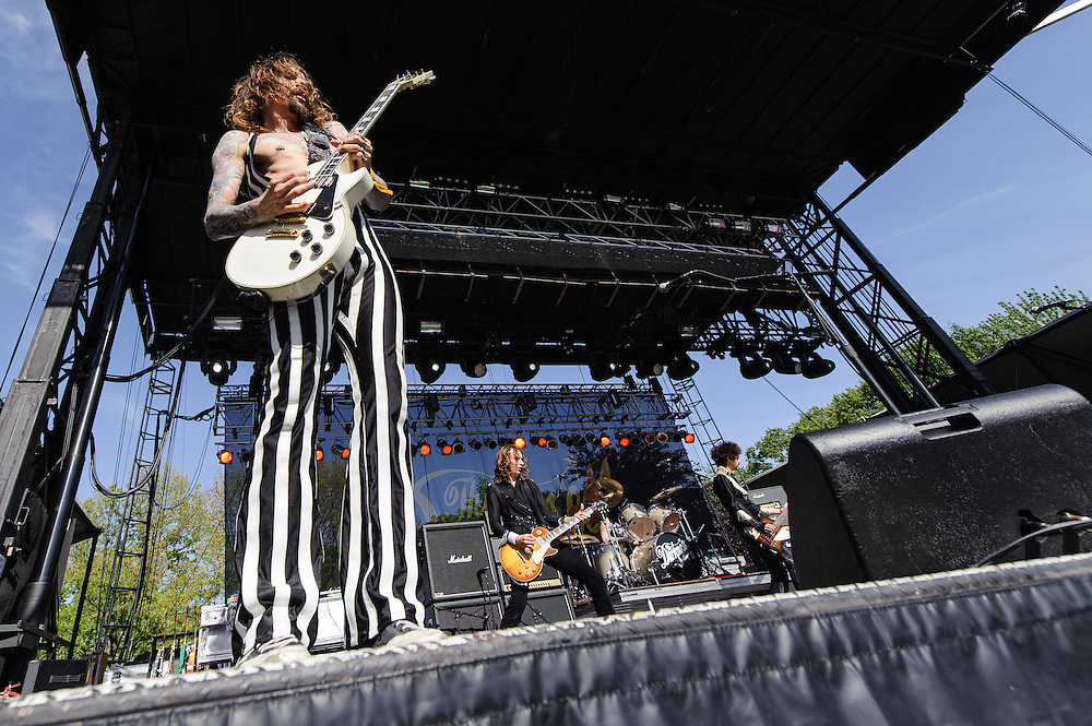 Photos of The Darkness performing live at The Great GoogaMooga Festival kickoff concert at Prospect Park in Brooklyn, NY. May 17, 2013. Copyright © 2013 Matthew Eisman. All Rights Reserved (Photo by Matthew Eisman/WireImage)