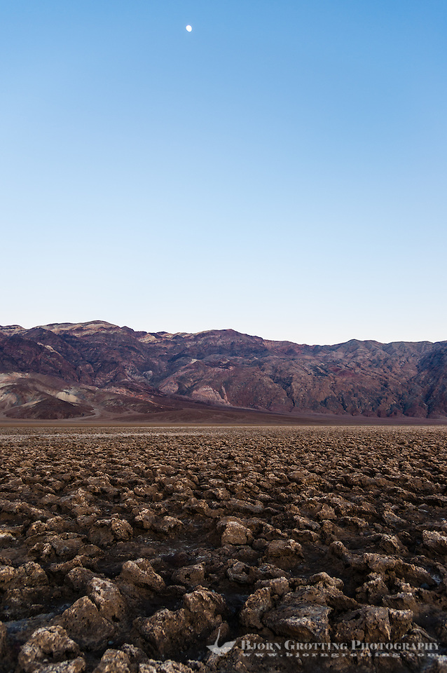 United States, California, Death Valley. The Devil's Golf Course is a large salt pan on the floor of Death Valley, with minerals left behind when the lake evaporated. Just after sunset. (Photo Bjorn Grotting)