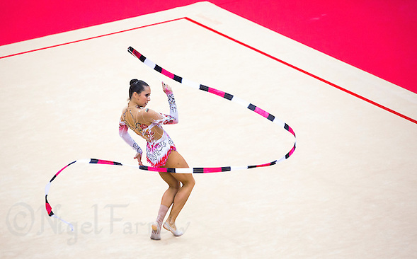 11 AUG 2012 - LONDON, GBR - Silviya Miteva (BUL) of Bulgaria performs her ribbon routine during the 2012 London Olympic Games Individual All-Around Rhythmic Gymnastics final at Wembley Arena in London, Great Britain (PHOTO (C) 2012 NIGEL FARROW) (NIGEL FARROW/(C) 2012 NIGEL FARROW)