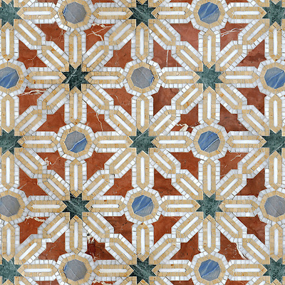 Alcazar, a natural stone waterjet and hand cut mosaic shown in Spring Green, Blue Macauba, Rojo Alicante and Renaissance Bronze polished, is part of the Miraflores Collection by Paul Schatz for New Ravenna Mosaics. CB1309PS (Sara Baldwin)