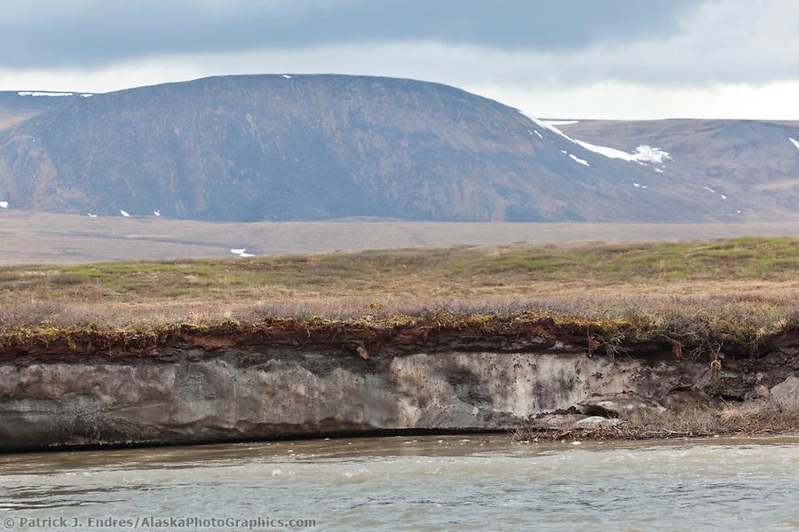 Permafrost lens exposed by erosion along the Nigu river, National Petroleum Reserve, Alaska. (Patrick J. Endres / AlaskaPhotoGraphics.com)