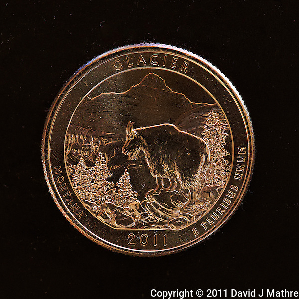 Macro Image of Glacier NP 2011 United States Quarter Coin. Image taken with a Nikon D3x and 105 mm f/2.8 VR Macro Lens (ISO 400, 105 mm, f/8, 30 sec). Raw image processed with Capture One Pro 6 and Photoshop CS5. (David J Mathre)