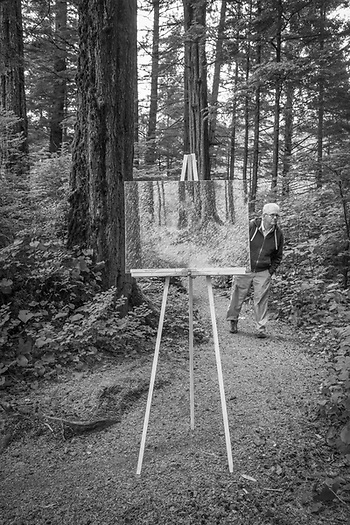 Photgrapher Clark James Mishler's self portrait features his painting of a small section of wilderness in Sitka's Totem National Historic Park during the Sitka Arts and Science Festival. (Clark James Mishler)
