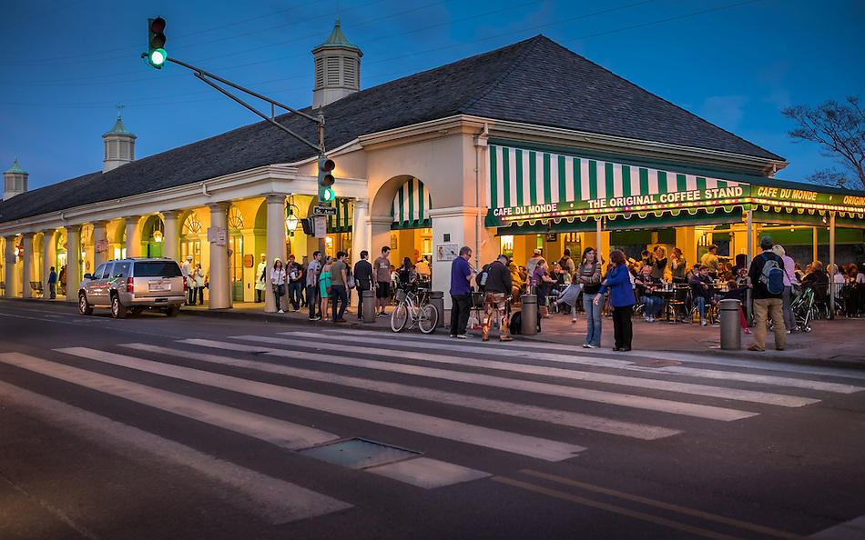 NEW ORLEANS - CIRCA FEBRUARY 2014: Famous Cafe Du Monde at night in New Orleans, Louisiana. (Daniel Korzeniewski)