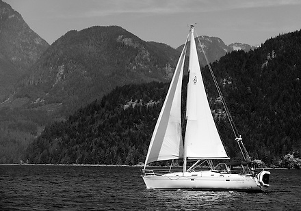 This sailboat is seen transiting Jervis Inlet along the coast of British Columbia on a warm summer day. (Benjamin Chase / Ben Chase Photography)