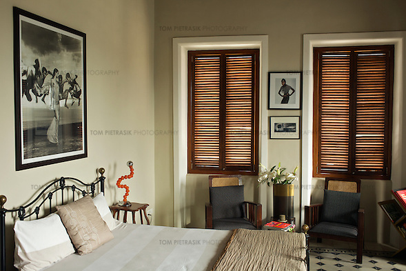 Designer Divya Thakur's recently renovated home on the fourth floor of a century-old building in the Colaba neighbourhood of Mumbai. Thakur runs Design Temple, a graphics firm that she established ten years ago...Photo: Tom Pietrasik.Mumbai, India.February 2010 (Tom Pietrasik)
