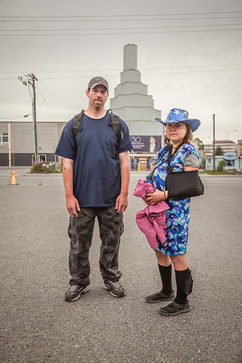 "Maggie Penix and David Carlton in mid-town Anchorage  ""We just met today...we're looking for a place to eat.""  -David Carlton (© Clark James Mishler)"