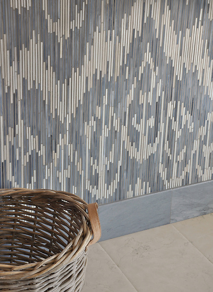 Weft, a jewel glass mosaic shown in glass Quartz and Pearl, is part of the Ikat Collection by New Ravenna Mosaics. (New Ravenna Mosaics 2010)