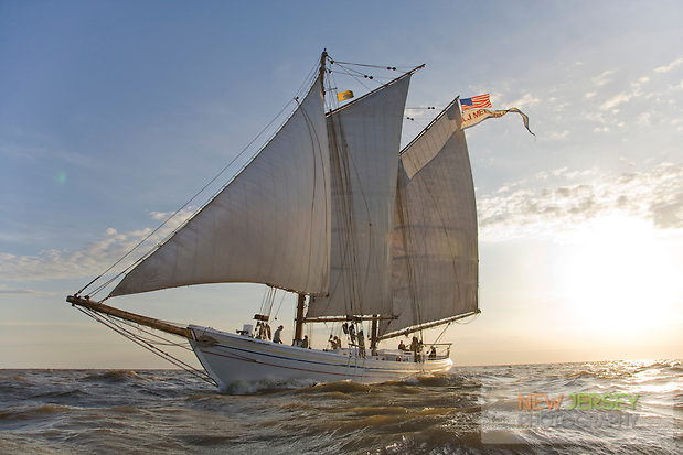 Historic Tall Ship, A.J. Meerwald, sailing on the Delaware Bay, Cumberland County, New Jersey (Released)