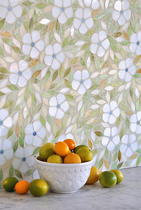 Jacqueline, a jewel glass waterjet mosaic shown in Absolute white, Chalcedony, Peridot, and Quartz/Agate, is part of the Silk Road Collection by Sara Baldwin for New Ravenna Mosaics. (Picasa)