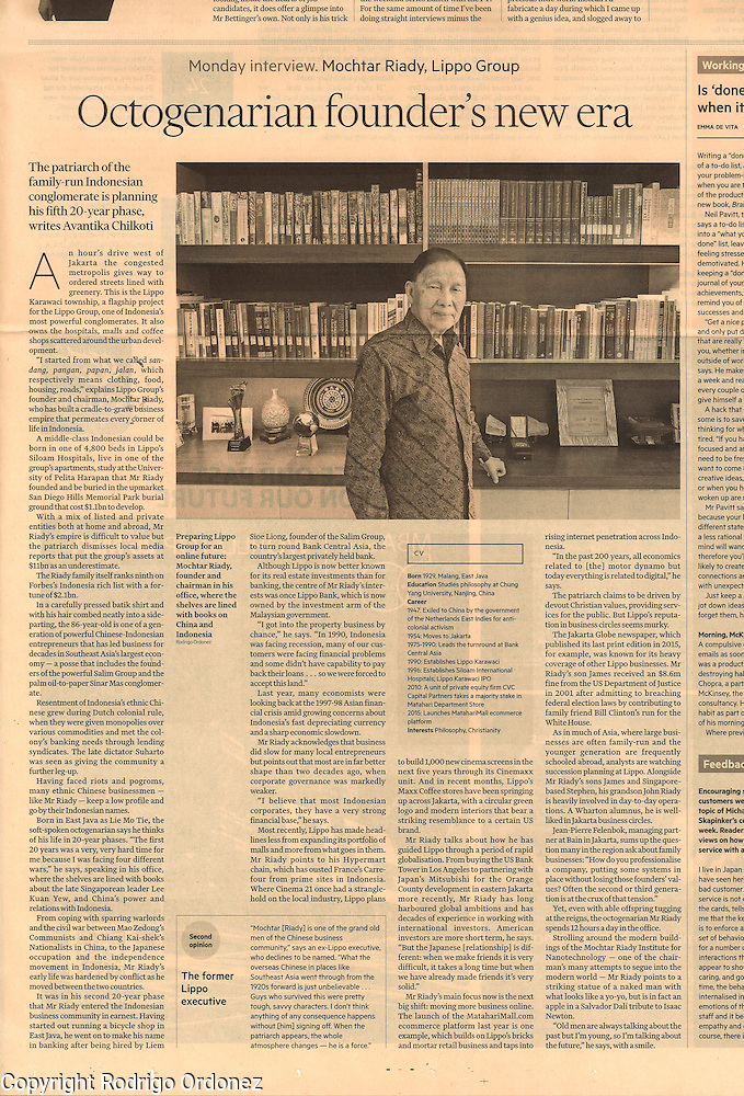 2016 02 29 Tearsheet Financial Times Portrait of Mochtar Riady, Lippo Group. Published on Business Life, on all international editions, page 12, February 29, 2016. (Rodrigo Ordonez)