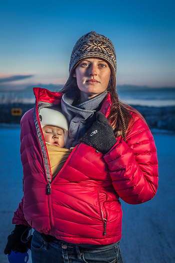 Kaity Reiley, her 7 month old daughter Beatrice and her dog, Jack, at the bottom of 9th Avenue, Anchorage kaitlinreiley@gmail.com (© Clark James Mishler)